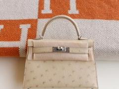 爱马仕 3C羊毛白 银扣 Minikelly二代 原厂鸵鸟皮 迷你凯莉包 纯手缝蜡线缝制工艺