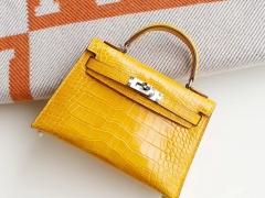 客定、9D琥珀黄 银扣 Minikelly二代 美洲亮面鳄鱼口刻 迷你凯莉包 纯手缝蜡线缝制工艺