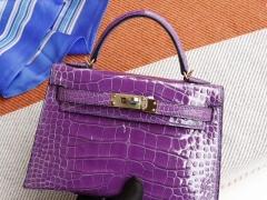 爱马仕 5L极度紫 minikelly二代 亮面鳄鱼 法国蜡线 全手缝 金扣