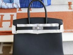 HERMES CC89黑色 银扣 Birkin30CM 法国Epsom小牛皮 纯手缝蜡线缝制工艺