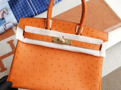 HERMES CC93橙色 金扣 Birkin30CM 南非KK鸵鸟皮 老师傅纯手缝蜡线缝制工艺
