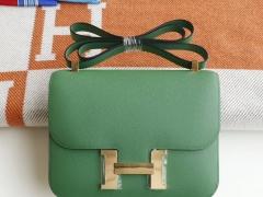 HERMES 1K竹子绿 Constance24CM 空姐包 原厂Epsom皮 银扣 纯手工手缝工艺制作