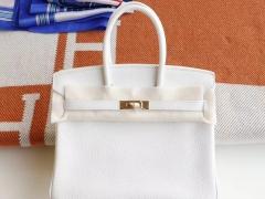 HERMES Birkin25CM 01纯白色 铂金包法国Togo皮 老师傅全手缝 金扣