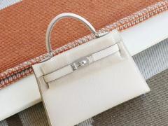 Hermes CC10奶昔白 银扣 Minikelly一代 原厂Epsom皮 迷你凯莉包 纯手缝蜡线缝制工艺