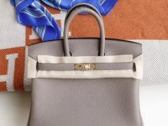 HERMES M8沥青灰 Birkin25CM 原厂togo皮 纯手缝蜡线缝制 铂金包;H家的老师傅工艺真是不一般强