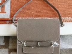 HERMES 爱马仕 CK18大象灰 银扣 Roulis19CM 猪鼻子包 原厂Togo皮 顶级纯手缝工艺缝制