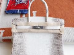 HERMES 喜马拉雅鳄鱼白 Birkin30CM 铂金包 永垂不朽的经典颜色 看着就高贵!纯手缝蜡线!