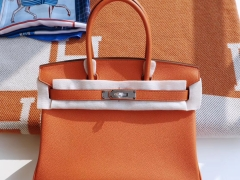 HERMES Birkin30CM Ck93 经典橙色 铂金包法国Togo皮 老师傅全手缝 银扣