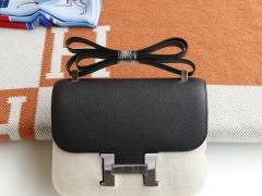 HERMES CC89黑色 Constance24CM 空姐包 原厂Epsom皮 银扣 纯手工手缝工艺制作