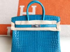 HERMES i7琉璃蓝 最顶级的Birkin25cm 亮面鳄鱼 银扣 铂金包