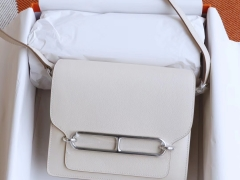 HERMES Roulis19CM 猪鼻子包 原厂Evercolor皮 顶级纯手缝工艺缝制 8L奶油白