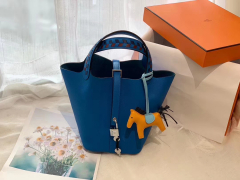 HERMES picotin lock 菜篮子 18 限量版编织拼接手柄 蜡线缝制 Epsom B3坦桑尼亚蓝
