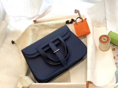 爱马仕 mini Halzan 肩背设计款 实用 简单 晚宴包 进口swift 皮 73宝石蓝
