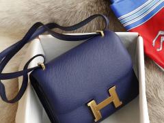 HERMES 现货 7K宝石蓝 Constance19CM 空姐包 原厂Epsom皮 金扣 纯手工手缝工艺制作