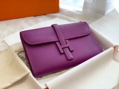 H家 Jige 大号 swift皮 手包 晚宴包 超级百搭款 海葵紫