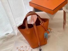 爱马仕 picotin lock 菜篮子 18 限量版编织拼接手柄 蜡线缝制 Epsom 93经典橙色