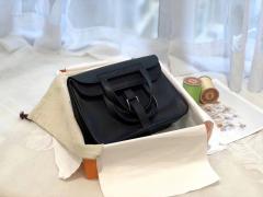 HERMES mini Halzan 肩背设计款 实用 晚宴包 进口swift 皮 89黑色