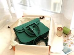 爱马仕 mini Halzan 肩背设计款 实用 单肩斜挎 晚宴包 进口swift 皮 U4丝绒绿