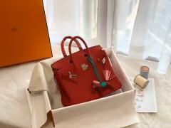 爱马仕中国官网 Birkin 25cm 进口Clence皮 phw Q5-国旗红 要选就选最正的红